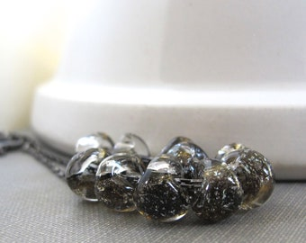 Glass Necklace, Brown Black Glass, Silver Necklace, Sterling Silver, Silver Jewelry, Oxidized Silver, Expresso Brown, Lampwork Glass