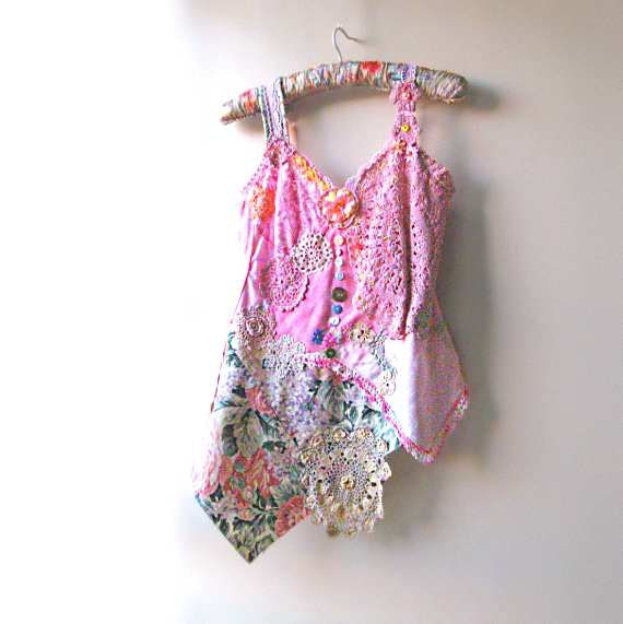 Rustic Top, Vintage Lace, Floral, Cottage, Garden, Pink, Pretty, Flower, Tank, Bohemian Clothing