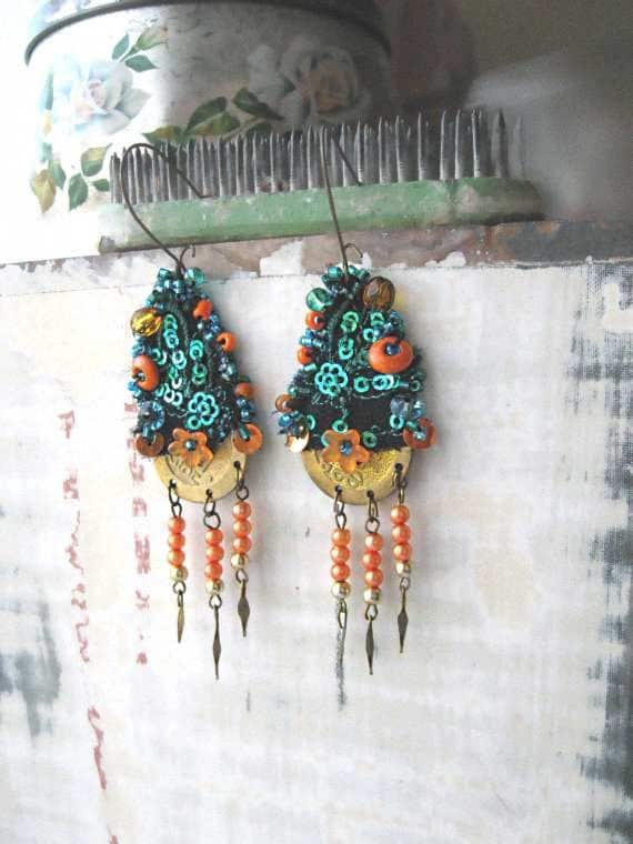 Majestic Earrings, Blue, Orange, Fiber, Beaded, Dangle Earrings, Gypsy Bohemian, Boho, Hippie, Jewelry