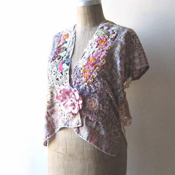 Geisha Silk & Lace Jacket, Vintage, Embroidered, Lavender, Cream, Green, Oriental, Bohemian Gypsy