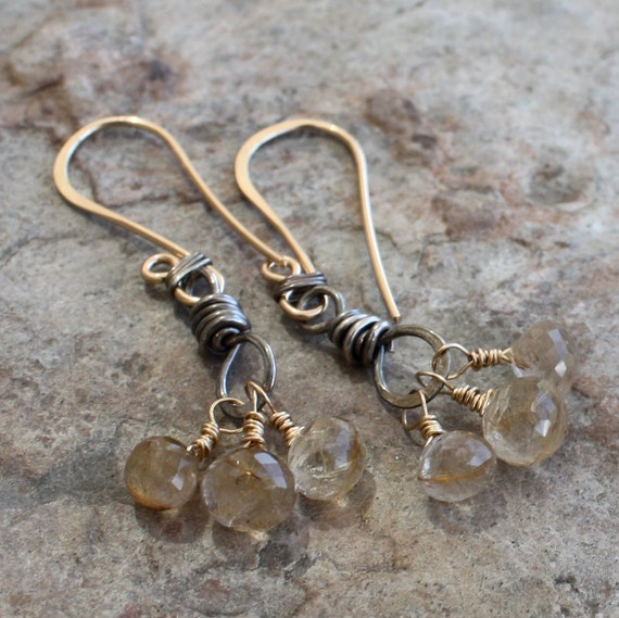 RUTILATED Quartz earrings, mixed metals 3 briolette earring, silver and 14k gold filled