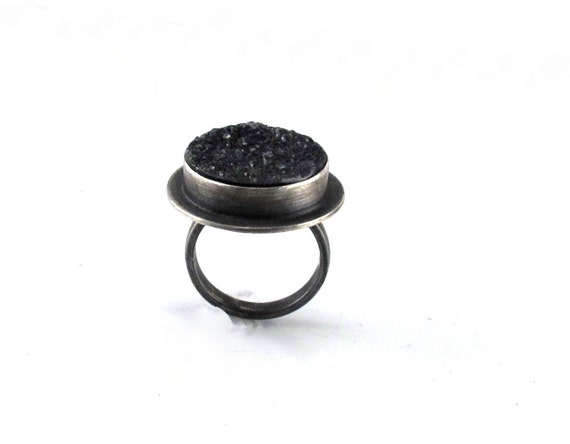 Midnight Sparkle Ring - Sterling Silver and Black Drusy Size 8 OOAK