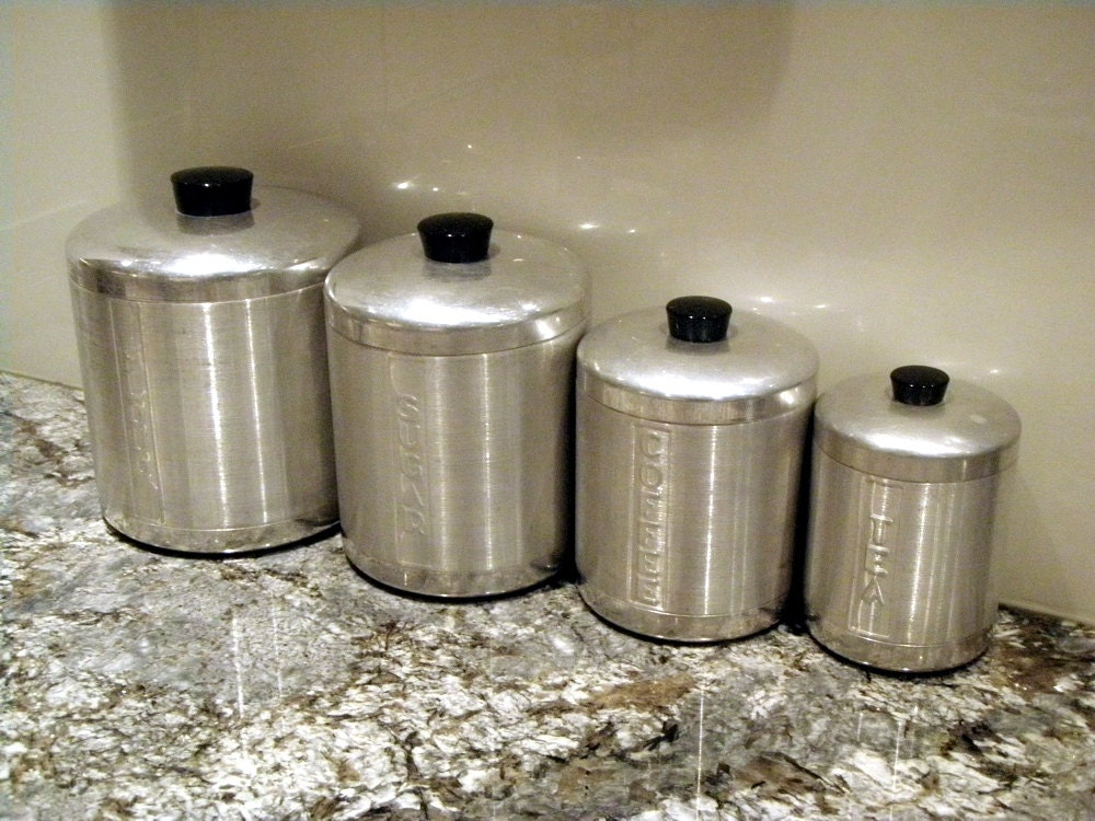 antique aluminum canister set antiques kitchen 50s by