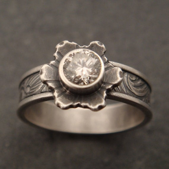 Sunflower Engagement Ring with White Sapphire and 14k Rose Gold