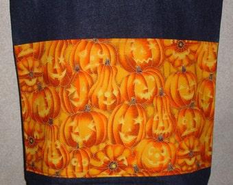 New Large Handmade Glowing Jack O Lanterns Halloween Fall Denim Tote Bag