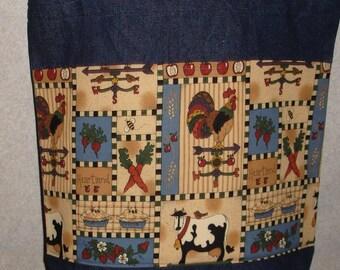 New Handmade Large Heartland Farm Country Denim Tote Bag