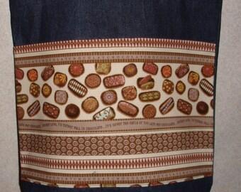 New Large Handmade Fancy Chocolate Candy Denim Tote Bag