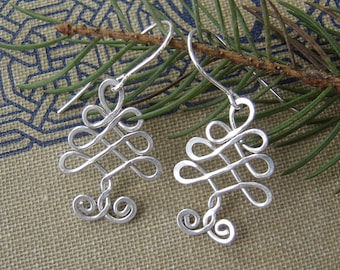 Celtic Tree Sterling Silver Wire Earrings, Christmas Tree Earrings, Christmas Gift, Women, Holiday Tree of Life, Celtic Knot, Celtic Jewelry
