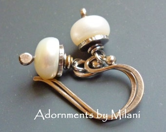 Pearl Earrings Small White Sterling Silver Vintage Patina -Darling Pearls