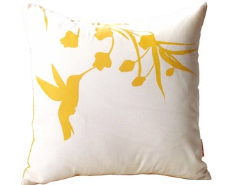 Yellow Print on White Cotton Hummingbird with Eucalyptus - Mini 10.5 Inches Square Pillow
