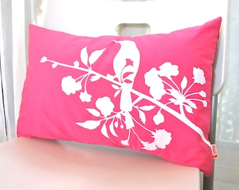 Hot Pink Blooming Blossom Rectangle Pillow