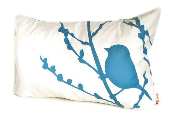 Teal Print on Off-white Bird on Cherry Blossom Pillow
