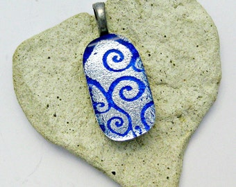 Fused Glass Jewelry - Dichroic Silver with Blue Curly Q's