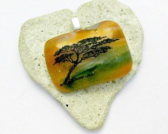 Tree Fused Glass Pendant