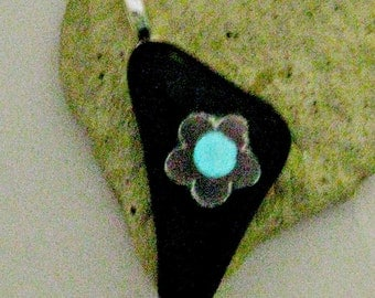 Fused Dichroic Glass Pendant - Glow In The DarkCenter of Flower Pendant