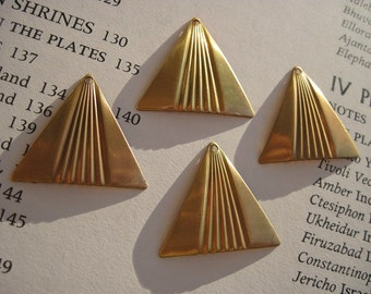 Vintage Brass Flared PYRAMID Triangle CHARMS tribal jewelry findings Set of Four