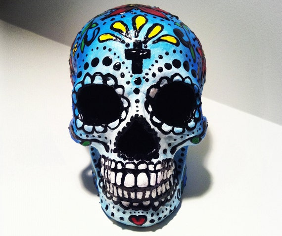 Day Of The Dead Hand Tattoo: SALE Hand Painted Day Of The Dead Skull El Dia De Los