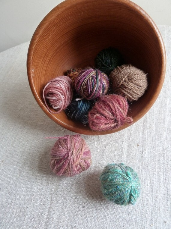10 Mini skein marbles, hand dyed sock yarn, perfect for hexipuffing