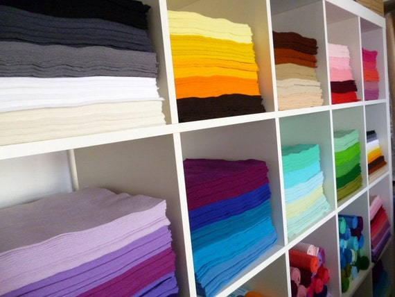 """10 x 12"""" squares of Premium Wool Blend Felt you choose from 45 colours of felt"""