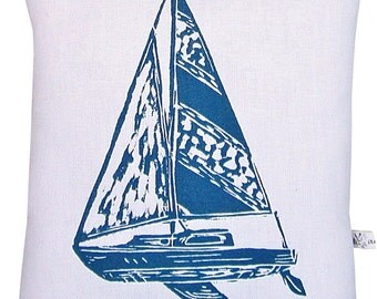 block print sailboat accent squillow pillow