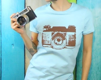 Womens Camera Shirt Women's Clothing Mid Century Screen Print Blue and Brown Vintage Inspired Graphic - Top - Small, Med, Large and XL