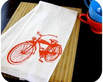 Bicycle Kitchen Towel Orange Tea Towels - Bikes - CUTE Screen Print Kitchen Biking Gifts Outdoors enthusiast Exercise Summer Fun Ride a bike