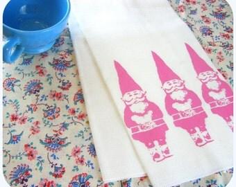 Kitchen towel gnomes decor retro pink Screenprint gnome tea towels Indie Housewares - dish cloth