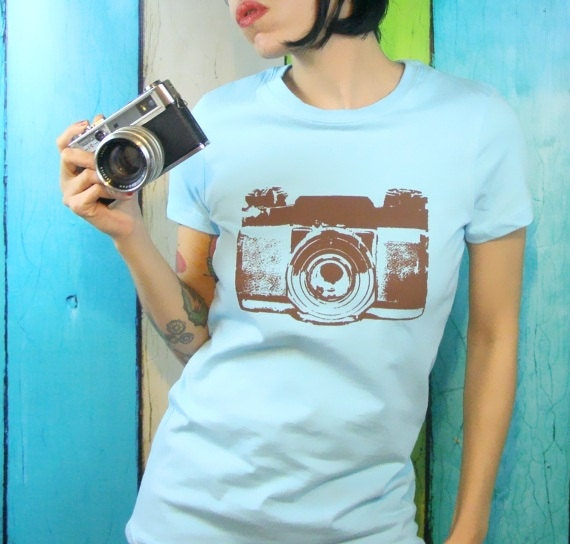 Items similar to womens camera t shirt camera screen print for Vintage screen print t shirts