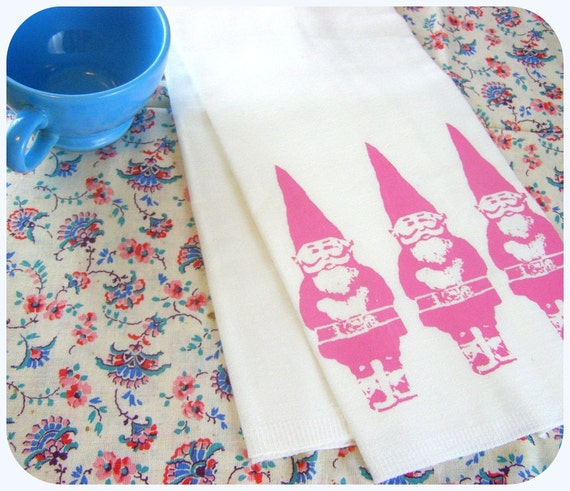 Gnome Kitchen Towel Woodland Decor Retro Pink Kitchens Screen
