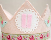 wool felt WALDORF birthday crown - Shabby Chic pink Crown with Birds