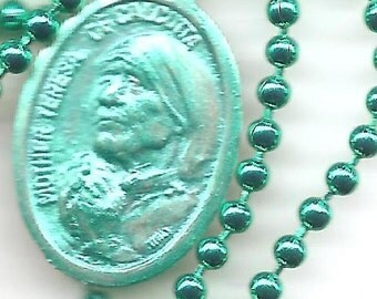 Do It Anyway, Mother Teresa  Patron Saint Medal on Bright Green  Ball Chain Necklace