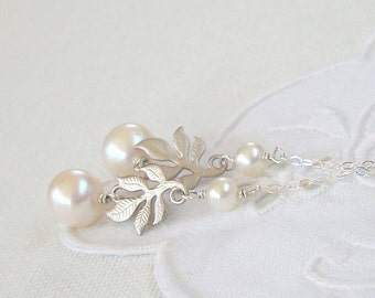 Silver Branch and Pearl Lariat - Sterling Silver and Freshwater Pearls
