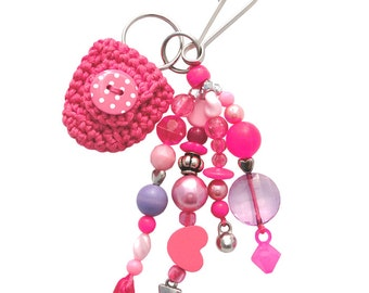 Beaded Keychain or Bag Charm, with Coin Holder (W-BKC-007), pink keychain, women accessory, teen accessory, for her