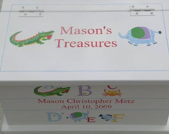 Baby Keepsake Box Baby keepsake chest Alphabet Animals Memory Box personalized baby gift hand painted