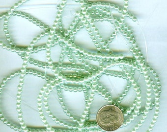 3mm Elegant Light Vivid Green Glass Pearls 50 pcs
