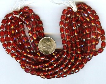 LAST Fabulous Farmer's Cut Red Ruby Bronze Faceted Czech Glass Beads 20pcs 6x4mm