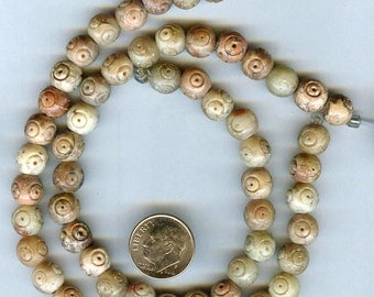8mm Carved Soapstone Gemstone Beads 15pcs Very Unusual