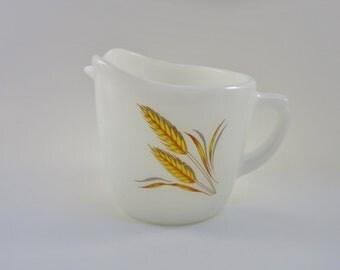 Vintage Fire King Milk Glass - Wheat Design -  Creamer