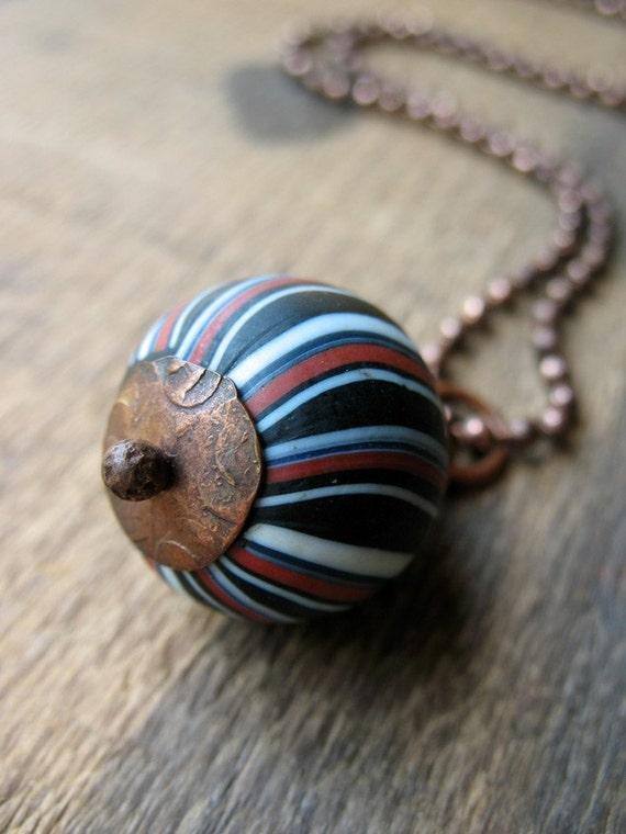 Copper Capped Chevron Glass Bead Necklace