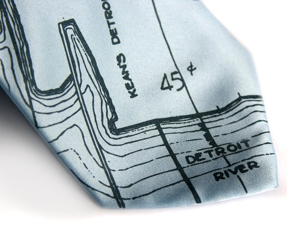 Detroit map tie. Marina District & Detroit River. Silkscreened nautical necktie, cobalt print. Microfiber. Choose standard or narrow.