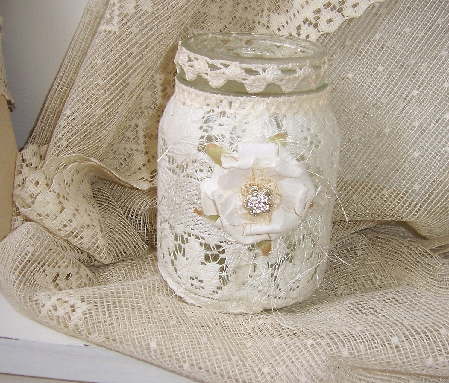 Mason Jar Shabby Chic Lighting With Vintage Lace And Tattered