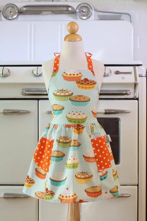 Retro Child Apron Blue Yummy Pies