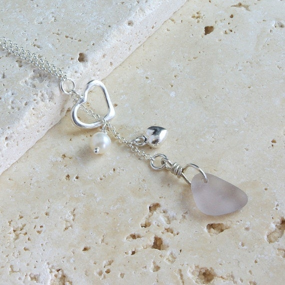 RESERVED FOR DIANNE - Lavender Love - Lariat Style Sterling Silver Necklace - Sea Glass Jewelry
