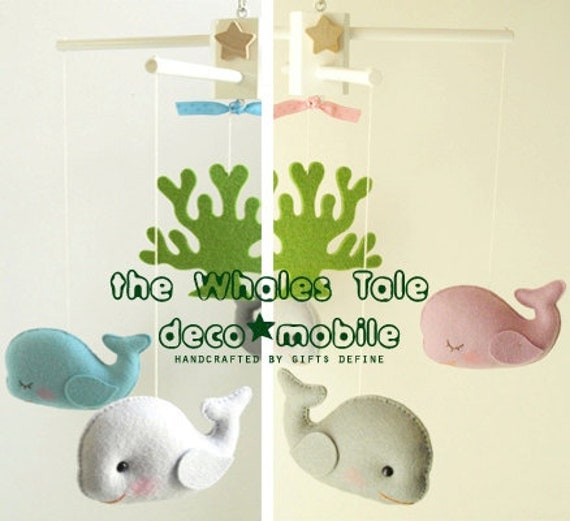 WHALES TALE Baby Mobile Artist Choice Colors for by GiftsDefine