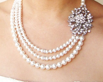 Art Deco Wedding Necklace, Statement Bridal Necklace, Great Gatsby Jewelry, Pearl Bridal Necklace, Wedding Jewelry, MARLENA