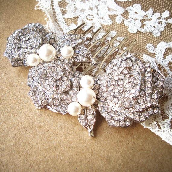 Bridal Hair Comb, Pearl and Rhinestone Vintage Style Wedding Bridal Hair Comb, Rose Bridal Comb, Wedding Bridal Hair Accessory, DAMASK ROSE