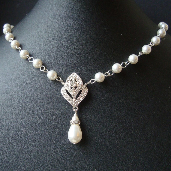 Pearl Necklace Styles: Art Deco Bridal Necklace Pearl Wedding Necklace Art Deco