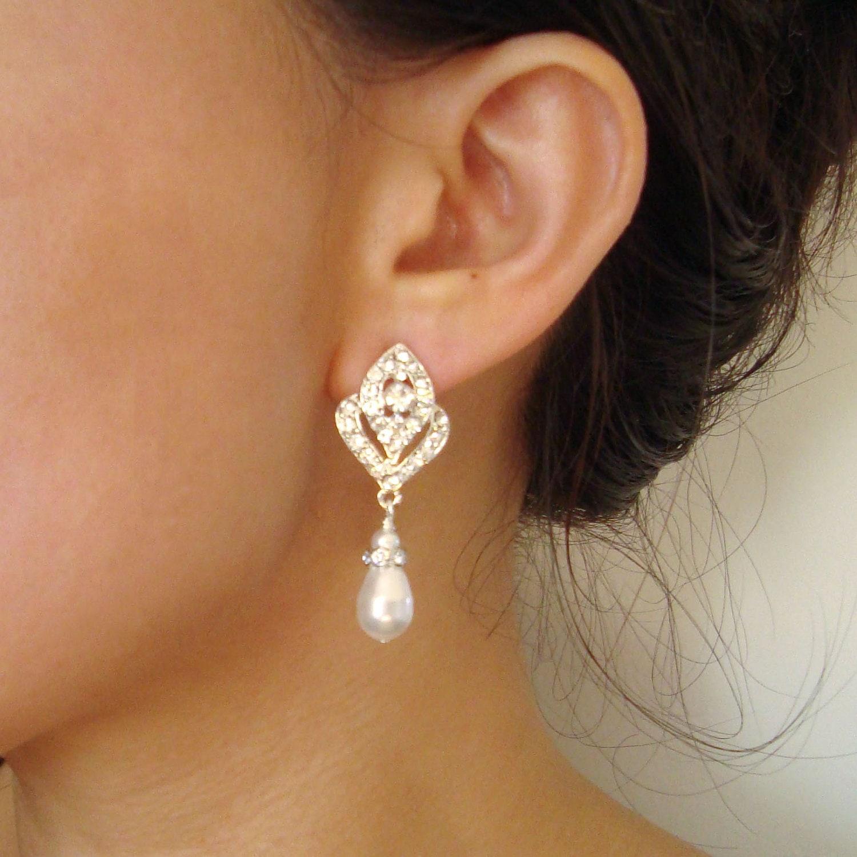 Pearl Bridal Wedding Earrings Vintage Style Bridal By