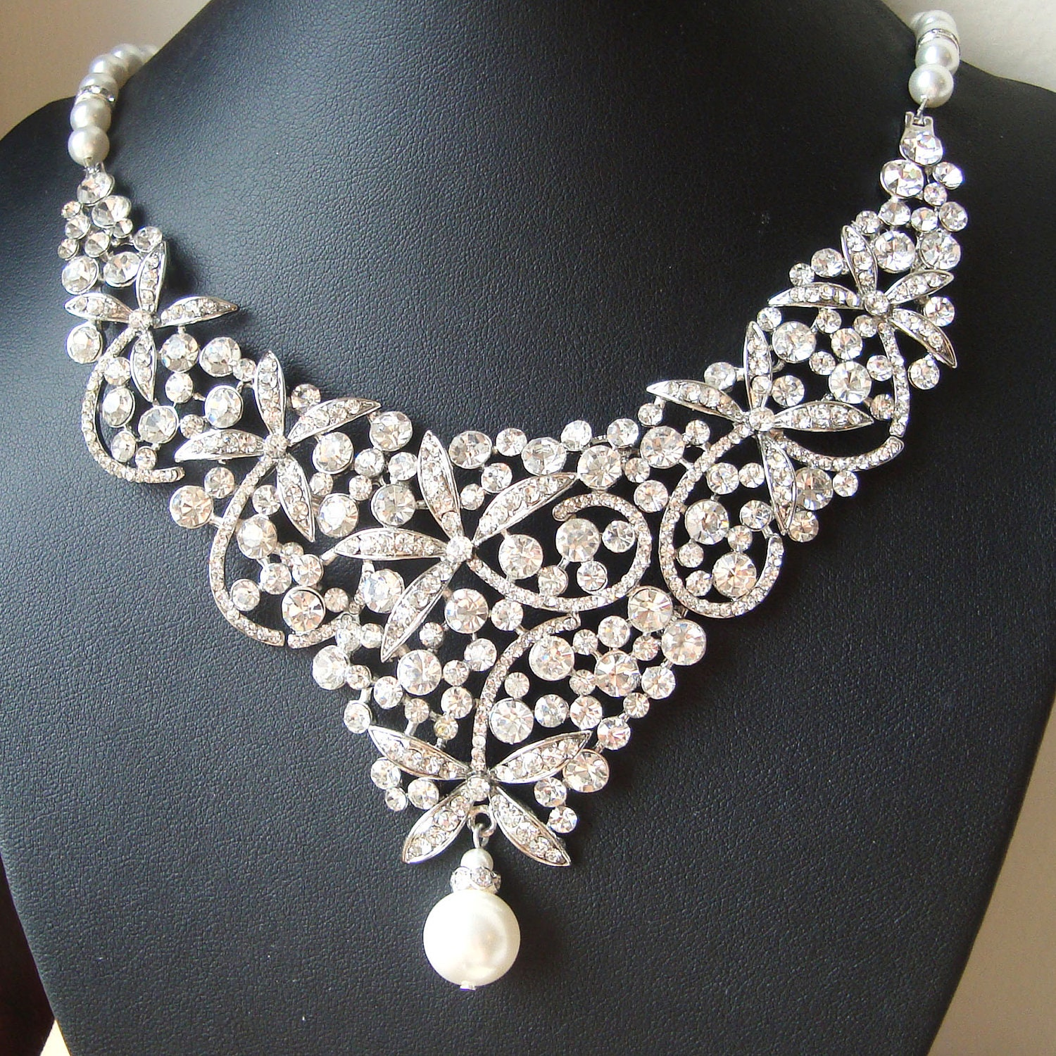 Statement bridal necklace crystal bib wedding necklace for Wedding ring necklace
