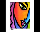 Abstract pop art painting Modern print Contemporary colorful portrait face decor by Fidostudio